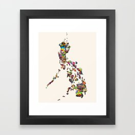 7,107 Islands   A Map of the Philippines Framed Art Print
