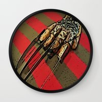freddy krueger Wall Clocks featuring Freddy Krueger by Rachel Bradford