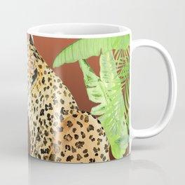 Leopard in Jungle, Coral Sunset Background Coffee Mug