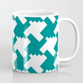 Teal White Retro 80s 90s Checker Houndstooth Pattern Aztec Tribal Style Coffee Mug