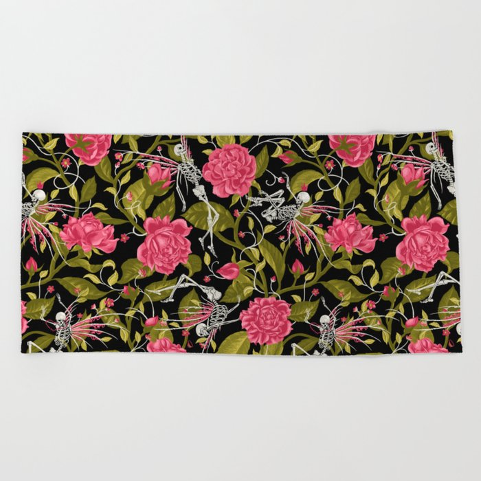 Death of Summer (black and rose) Beach Towel