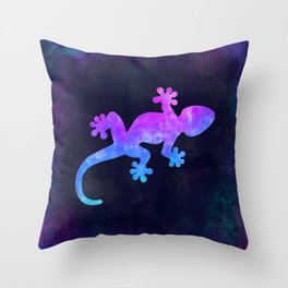 GECKO IN SPACE // Animal Graphic Art // Watercolor Canvas Painting // Modern Minimal Cute Throw Pillow