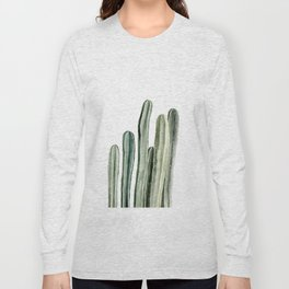 Tall Cacti Watercolor Painting Long Sleeve T-shirt