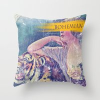 bohemian Throw Pillows featuring Bohemian by PixelFarmer