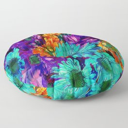 Colored Daisies Floor Pillow