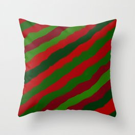 Red and Green Christmas Wrapping Paper Throw Pillow