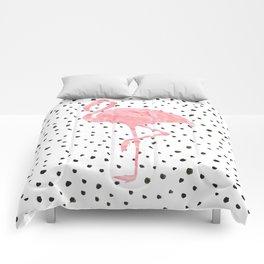 Flamingo Art print, Pink, Glam, Dalmatian, Tropical, Nursery, Living Room Comforters