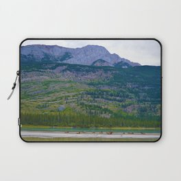 Bull Elk with his Lady Friends on the Athabasca River in Jasper National Park, Canada Laptop Sleeve