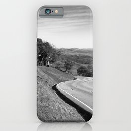 Winding road along the rolling hills near San Simeon, CA iPhone Case