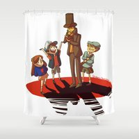 gravity falls Shower Curtains featuring Layton in Gravity Falls by stubbornpotato