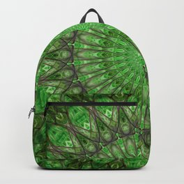 Bright green and brown mandala Backpack
