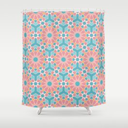 Colorful islamic pattern pink and blue Shower Curtain