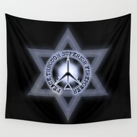 israel Wall Tapestries featuring Israel Peace Symbol - 032 by Lazy Bones Studios