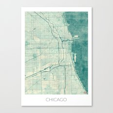 Chicago Map Blue Vintage Canvas Print