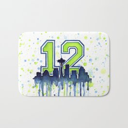 Seattle 12th Man Art Skyline Watercolor Bath Mat