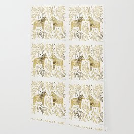 Swedish Dala Horses – Gold Palette Wallpaper