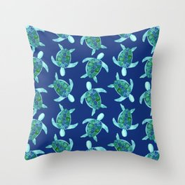 Save the Sea Turtles |Watercolor Blue Green| Renee Davis Throw Pillow