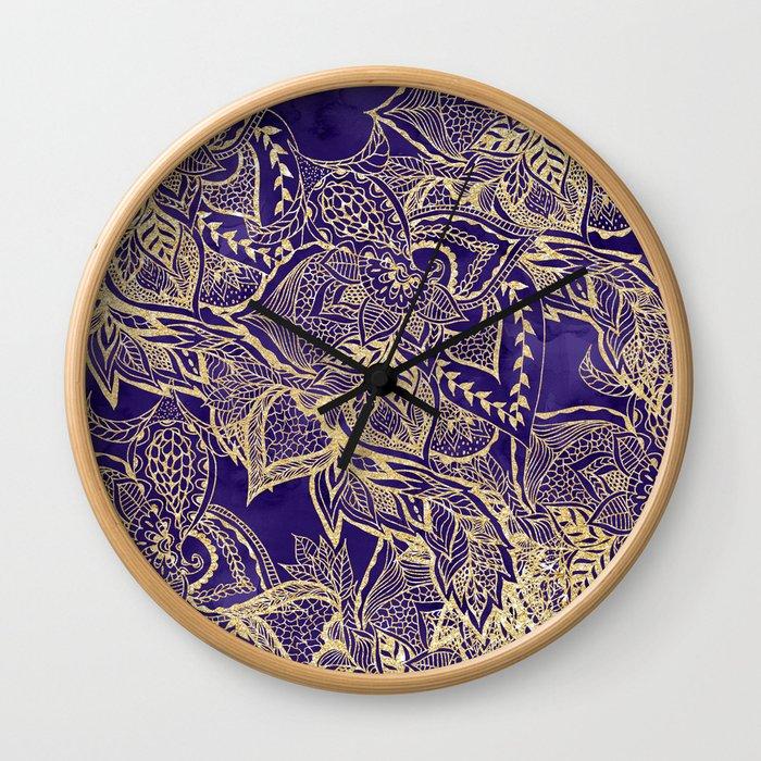 Gold hand drawn floral lace mandala on purple watercolor peacock Wall Clock