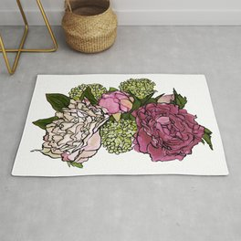 Peonies and Blooms Bunch Graphic Art Watercolor Rug