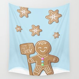 Merry Christmas Blue Poster with Gingerbread Man and Snowflakes Wall Tapestry