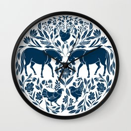 Modern Folk Art Horse Illustration with Botanicals and Chickens Wall Clock