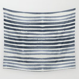 Simply Shibori Stripes Indigo Blue on Lunar Gray Wall Tapestry
