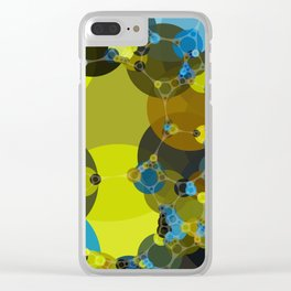 billie -vivid abstract design yellow blue brown chartreuse green Clear iPhone Case
