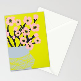 Pink Blooms in Blue Vase No 02 Stationery Cards