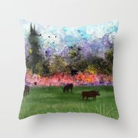 chicago bulls Throw Pillows featuring Chicago Skyline and Bulls In Pasture by Jen Hynds