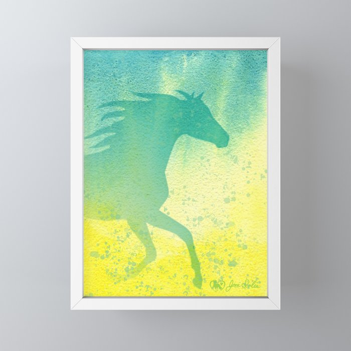 Horse Running with Flying Mane and Watercolor Background. Framed Mini Art Print