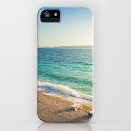 Beach in croatian coast, blue sea. Aerial view iPhone Case