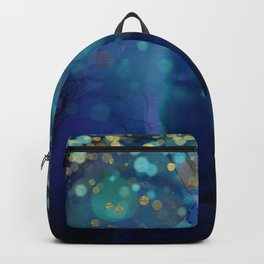 Ocean Blue & Golden Bokeh Confetti Backpack