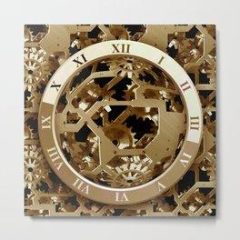 Steampunk Clocks  Gold Gears Mechanical Gifts Metal Print