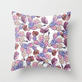 Modern vintage pink lavender watercolor cactus floral Throw Pillow