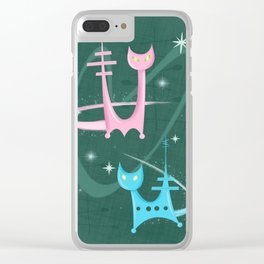 Atomic Rocket Cats In Space Clear iPhone Case