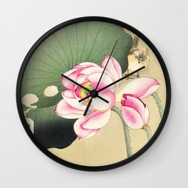 Bird sitting on lotus flower  - Vintage Japanese Woodblock Print Art Wall Clock