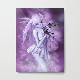 Purple Crow Metal Print