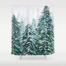 snowy pine forest in green Shower Curtain