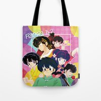inuyasha Tote Bags featuring  Ranma 1/2 by Neo Crystal Tokyo
