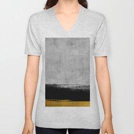 Black and Gold grunge stripes on modern grey concrete abstract backround I - Stripe - Striped Unisex V-Neck