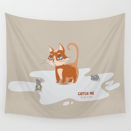 Ginger Cat and Mice Catch me If You Can Wall Tapestry