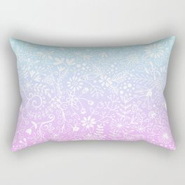 Floral Gradient - Pink and Turquoise Rectangular Pillow