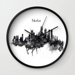Boston Skyline Black and White Wall Clock