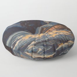 Blue Aurora Nights Floor Pillow
