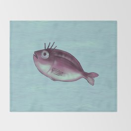 Funny Fish With Fancy Eyelashes Throw Blanket