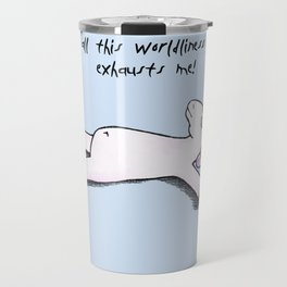 exhausted unicorn (blue) Travel Mug