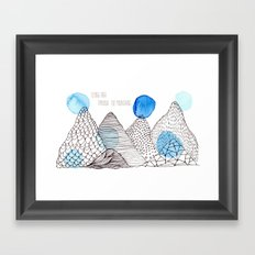 Flying high through the mountains Framed Art Print