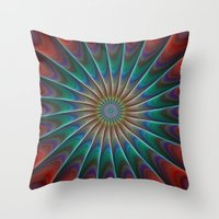fractal Throw Pillows featuring Peacock fractal by David Zydd