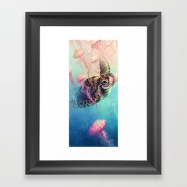 Sea Turtle and Jellyfish! Framed Art Print