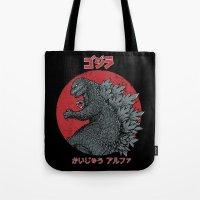 kaiju Tote Bags featuring Gojira Kaiju Alpha by Pigboom Art
